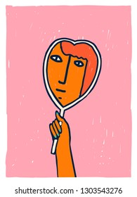 Self love and body positive illustration in vector. Women international day or valentine day card or poster.