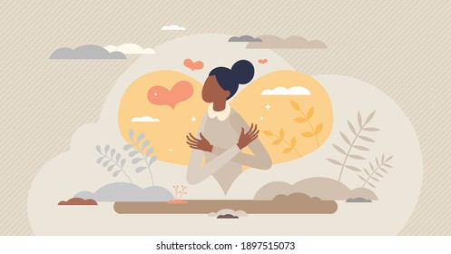 Self love confidence as hug yourself and be proud female tiny person concept. Inner mental acceptance as proud and caring woman vector illustration. Body esteem and positive attitude to herself ego.