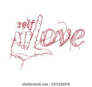 Self Love Hand drawn T shirt print Design