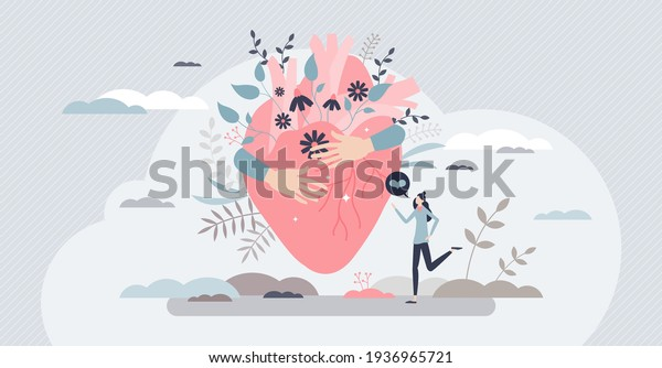 Self love with heart hug as mental healthcare and esteem tiny person concept. Holding yourself and be proud about body, inner peace and acceptance vector illustration. Female confidence with harmony.
