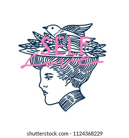 Self love slogan. Suffragiste with a bird. Typography graphic print, fashion drawing for t-shirts .Vector stickers,print, patches vintage