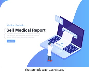 Self Medical Report Concept. 3d Isometric Vector Illustration.