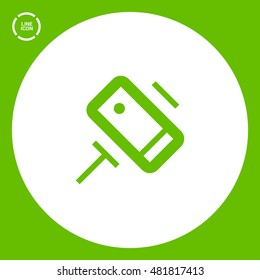 a self mobile phone in a holder self isolated minimal single flat linear icon in color. Line vector icon for websites and mobile minimalistic flat design.