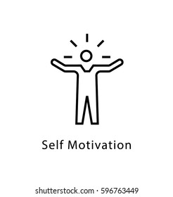 Self Motivation Vector Line Icon