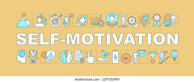 Self motivation word concept banner. Goal achieving. Skill improvement and personal growth. Career development. Isolated lettering typography idea with linear icons. Vector illustration