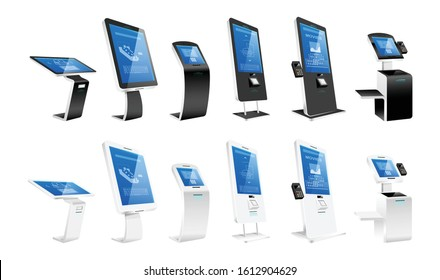 Self order kiosks realistic vector illustrations set. Modern interactive machines and internet software flat color objects. Payment terminals and atm constructions isolated on white background
