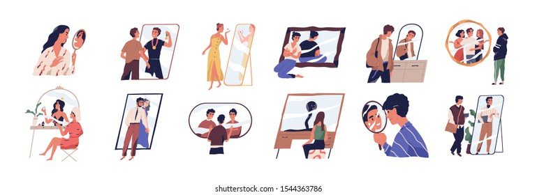 Self perception and self esteem flat vector illustration set. People dreaming about future near mirrors cartoon characters collection. Narcissism, positive affirmations, psychology concept.