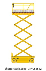 Self propelled scissor lift isolated on white background. Vector