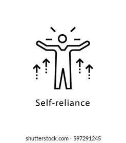 Self Reliance Vector Line Icon