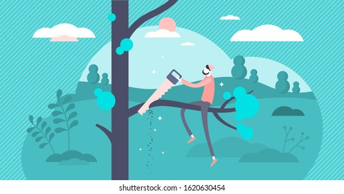 Self sabotage and self defeating mind state concept.Flat tiny person vector illustration.Do not cut the branch you are sitting on.Wrong mental action and problem solving.Business or personal failure.