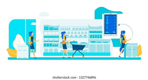Self Service App Checkout Store. Smart Shelf Sensor Vision Technology. Automatic Purchase Detection and Smartphone Application Interaction. Cashierless Scanner Tracking Surveillance System Shop.