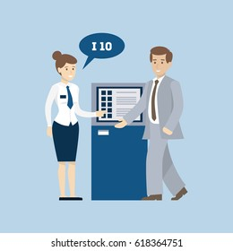 Self service in bank. Queue, account check and more.