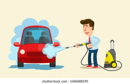 Self service car wash. Man washes a vehicle with high pressure device. Vehicle maintenance and care. Vector illustration, flat design, cartoon style. Isolated background. Front view.