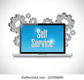 self service computer technology illustration design over a white background