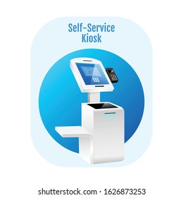 Self service kiosk flat concept icon. Payment terminal sticker, clipart. Digital software with sensor interface. Freestanding banking construction isolated cartoon illustration on white background