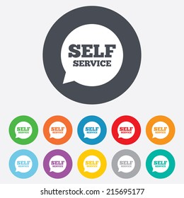 Self service sign icon. Maintenance symbol in speech bubble. Round colourful 11 buttons. Vector
