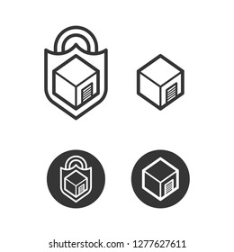 Self storage cube with lock and shield icons isolated on white