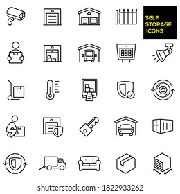 Self Storage Thin Line Icons -  stock illustration. Storage units, security camera,  entrance gate, person carrying a box, open storage unit with boxes, an RV in storage, gate keypad.