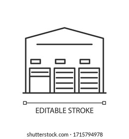 Self storage unit pixel perfect linear icon. Industrial building entrance. Storing facility. Thin line customizable illustration. Contour symbol. Vector isolated outline drawing. Editable stroke
