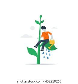 Self study concept, accelerating education, future thinking, building good habits, creative solution, gradually gain success