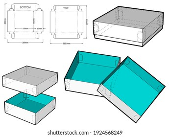 Self-assembling Folding Box. Ease of assembly, no need for glue (Internal measurement 15x15x5cm). The .eps file is full scale and fully functional. Prepared for real cardboard production.