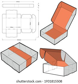 Self-assembling Folding Box. Ease of assembly, no need for glue (Internal measurement 14x14x5cm). The .eps file is full scale and fully functional. Prepared for real cardboard production.