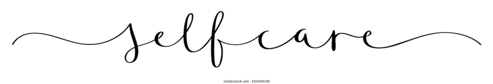 SELF-CARE brush calligraphy banner with swashes