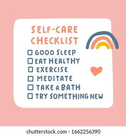 Self-care checklist. Hand drawn vector illustration on pink background.