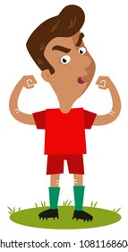 Self-confident, proudly standing South American Cartoon soccer player wearing red shirt showing off his strength isolated on white background