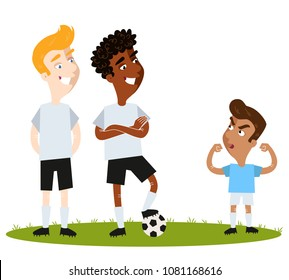 Self-confident short South American Cartoon soccer player in blue shirt attempting to intimidate unimpressed tall opponents with aggressive pose isolated on white background