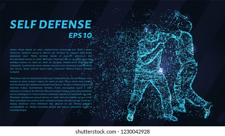 Self-defense of blue glowing dots. Assault on a man with a knife