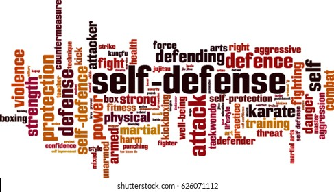 Self-defense word cloud concept. Vector illustration
