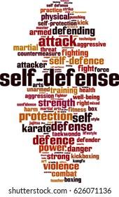 Self-defense word cloud concept. Vector illustration