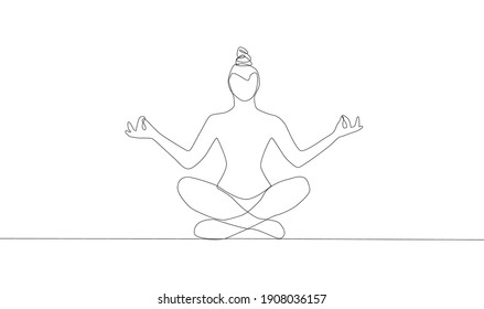 Self-drawing a simple animation of one continuous exercise of drawing one line, a person takes up yoga, a healthy lifestyle, health, sport, fitness