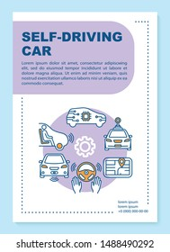 Self-driving car brochure template layout. Autonomous vehicle. Flyer, booklet, leaflet print design with linear illustrations. Vector page layouts for magazines, annual reports, advertising posters