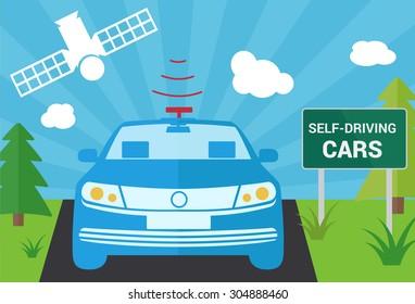 Selfdriving car with navigation sensor and satellite vector illustration