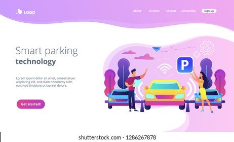 Self-driving car with sensors automatically parked in parking lot. Self-parking car system, self-parking vehicle, smart parking technology concept. Website vibrant violet landing web page template.