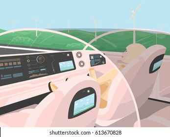 Self-driving electric car goes with relaxing passenger. Autonomous intelligent car. Happy business woman with tablet sitting in comfortable smart car. Inside view. Flat style vector illustration.