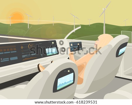 Self-driving electric car goes with relaxing passenger. Autonomous intelligent car without roof. Happy business woman with tablet sitting in comfortable smart car. Flat style vector illustration.