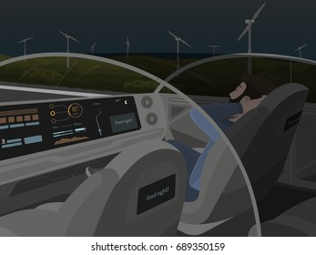 Self-driving electric car goes with sleeping passenger. Autonomous intelligent car with glass roof. Man in comfortable car. Inside view. Flat style illustration.