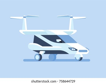 Self-driving flying car or taxi Vector illustration