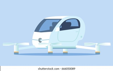 Self-driving flying taxi. Vector illustration