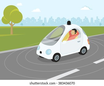 Self-driving intelligent driverless car goes through the city with happy passenger relaxing.