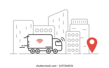 Self-driving truck - autonomous transport, cityscape, high skyscrapers. Vector line illustration.