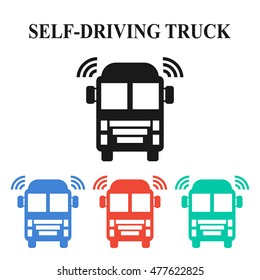 Self-driving truck colorful icons