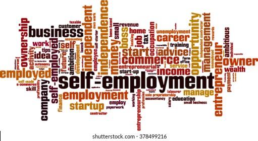 Self-employment word cloud concept. Vector illustration
