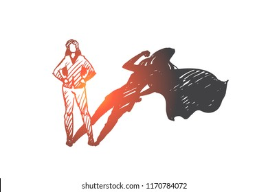 self-esteem, businessman, potential concept. Hand drawn woman with high potential and hidden talent concept sketch. Isolated vector illustration.