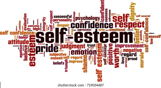 Self-esteem word cloud concept. Vector illustration