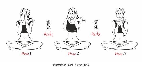 Self-Healing.   The energy of reiki. Poses hands for healing. The set of files. File 1.  3 positions. A total of 12 positions. Alternative medicine. Spiritual healing. Esoteric. Vector.