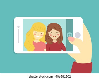 Selfie Best Friend. Vector illustration of two girls take a selfie picture with smart phone.